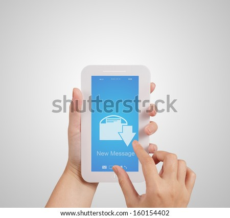 hand use Touch screen mobile phone with email icon as concept - stock photo