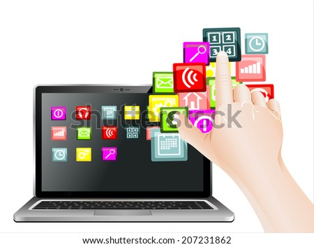 hand use touchscreen laptop with colorful application icons, isolated on white background - stock photo