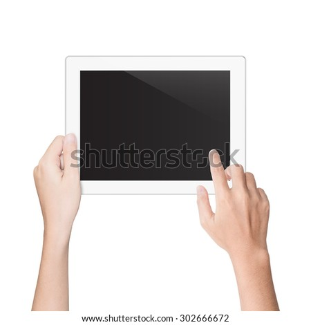 hand using tablet isolated white clipping path inside - stock photo