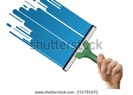 Hand using wiper against water graphic