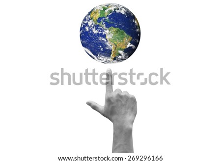 hand wag the colorful earth isolated on white backgrounds. Elements of this image furnished by NASA - stock photo