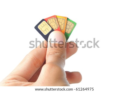 hand was choosing the best sim card or cellular provider - stock photo