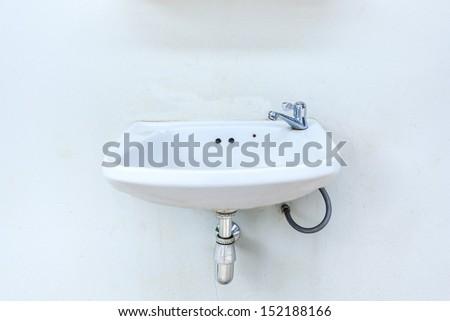 Hand washing basin with white background - stock photo