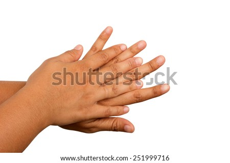 Hand washing procedure, second step, real hand photo. over white background - stock photo