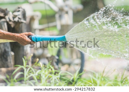 hand watering the plants with a garden hose with sprinkler