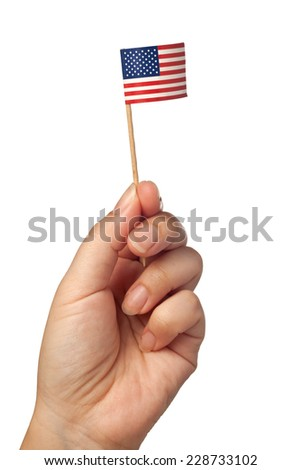 Hand waving a mini United States of America flag isolated on white background  - stock photo