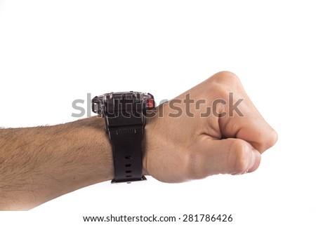 hand wearing watch - stock photo
