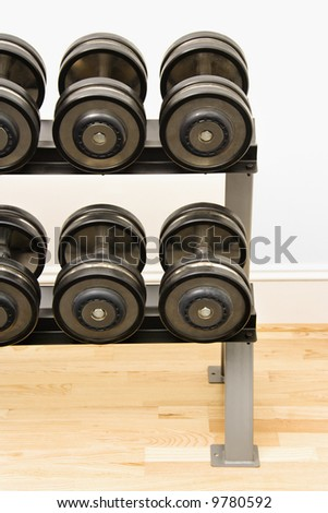Hand weights on rack at gym. - stock photo