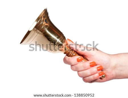 hand with a bell on a white background - stock photo