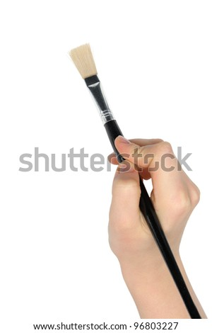Hand with a brush. It is isolated on a white background. Drawing imitation - stock photo