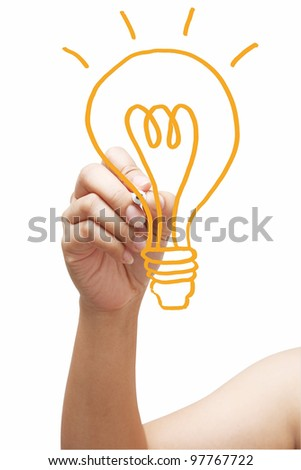 hand with a pen drawing light bulb