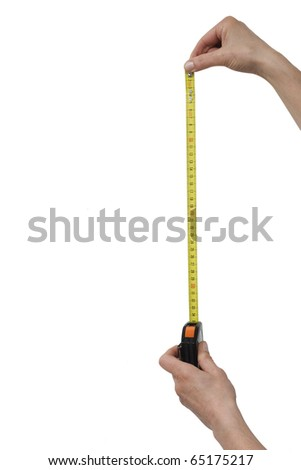 hand with a rule - stock photo
