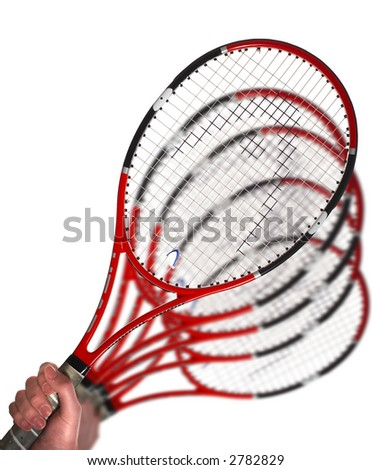 Hand with a tennis racket on a white background... - stock photo