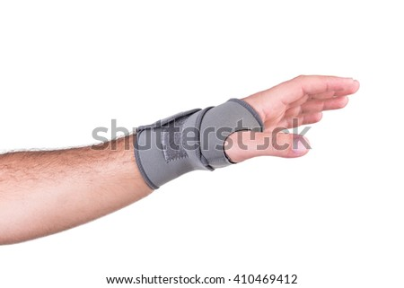 Hand with a wrist strap rehabilitation isolated on white background - stock photo