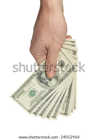 Hand with american dollars isolated on white.