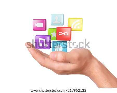 hand with application software icons.