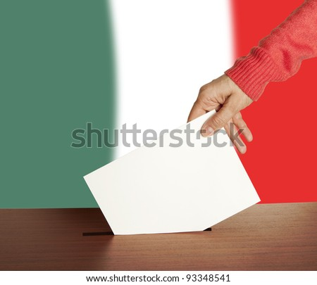 Hand with ballot and box on Flag of Italy - stock photo