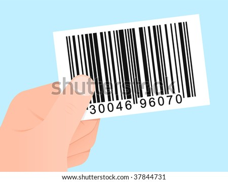 Hand with bar code card