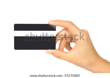 Hand with black credit card - stock photo