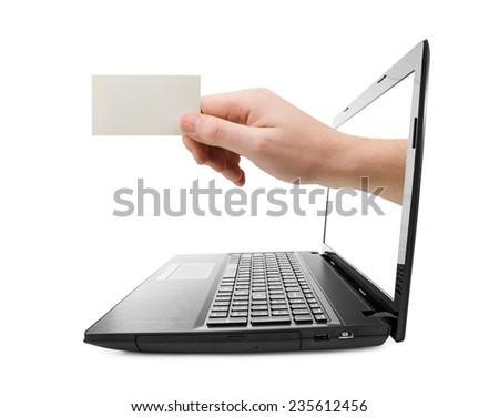 Hand with blank card and notebook isolated on white background - stock photo