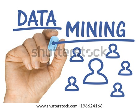 Hand with Blue Highlighter Pen writing Data Mining