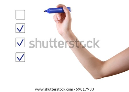 hand with blue marker and check boxes on white background - stock photo