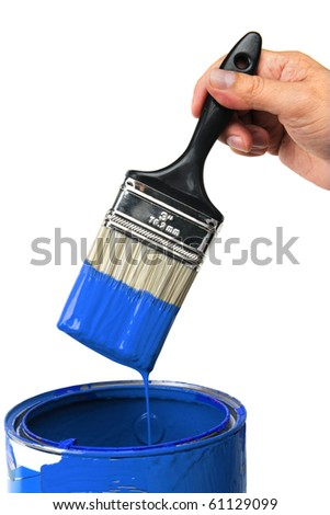 Hand with blue paint isolated over white background - stock photo