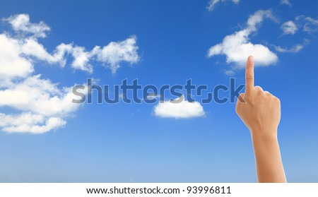 hand with blue sky and white cloud, cloud computing concept