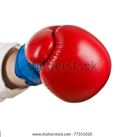 Hand with Boxing Gloves on white - stock photo