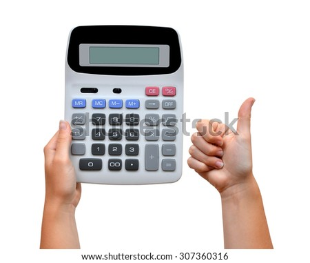 Hand with calculator isolated on white background