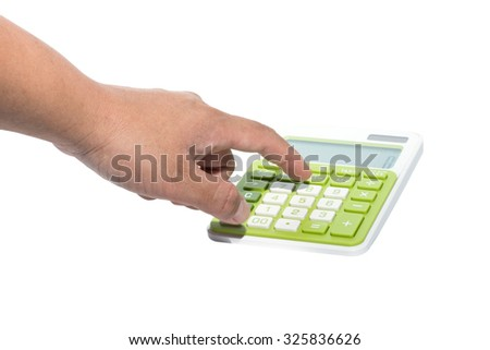 hand with calculator isolated on white background - stock photo
