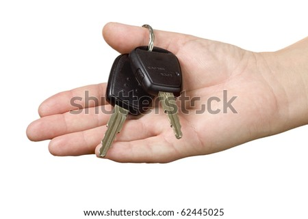 Hand with car keys - stock photo