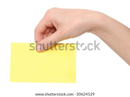 hand with card isolated on white