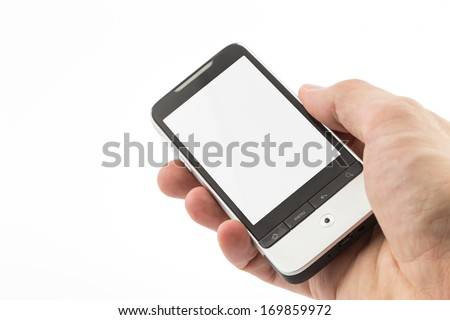 Hand with cell phone - stock photo