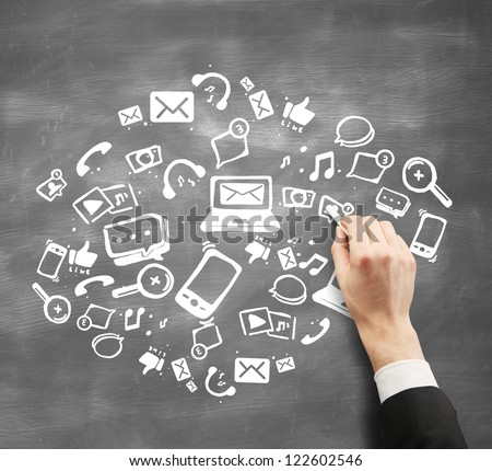 hand with chalk drawing concept social network - stock photo