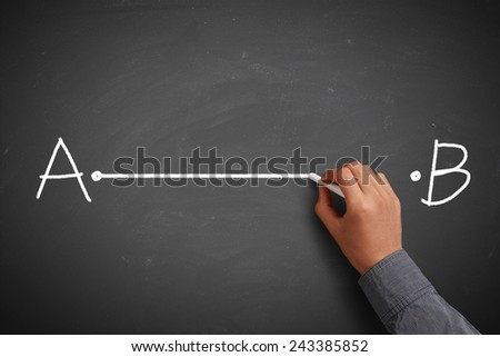 Hand with chalk drawing straight line from point A to point B on chalkboard. - stock photo