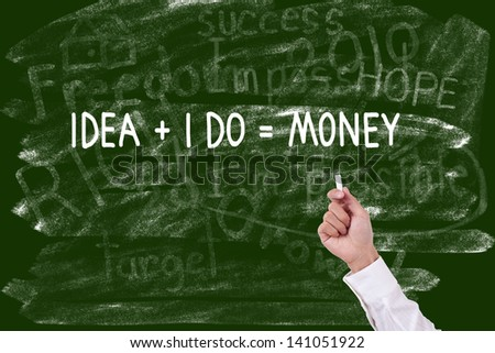 Hand with chalk writing word money concept on chalkboard - stock photo