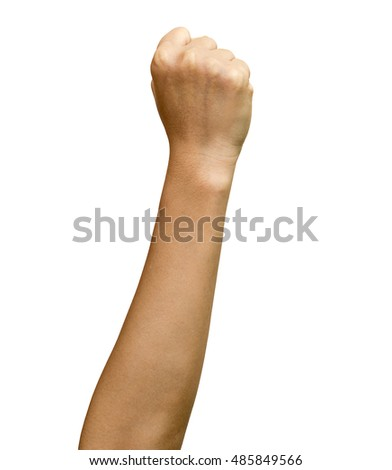 Hand with clenched a fist, isolated on a white background. Clipping path included.
