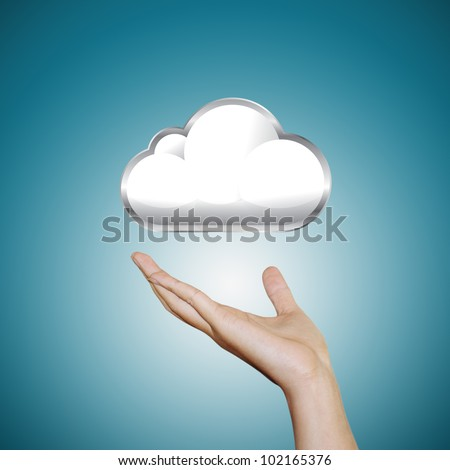 hand with cloud icon - stock photo