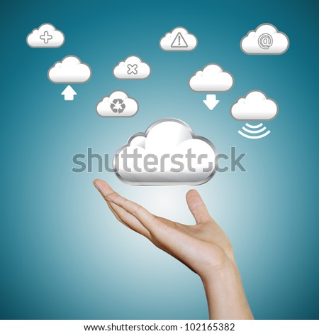 hand with cloud icons - stock photo