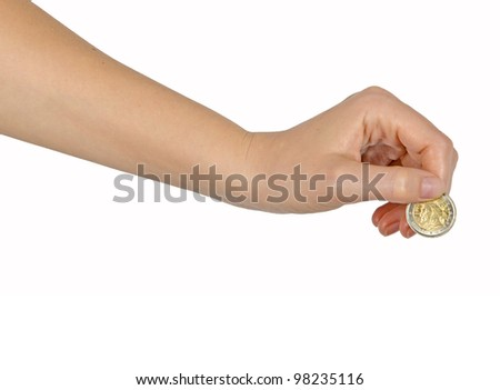 hand with coin - stock photo