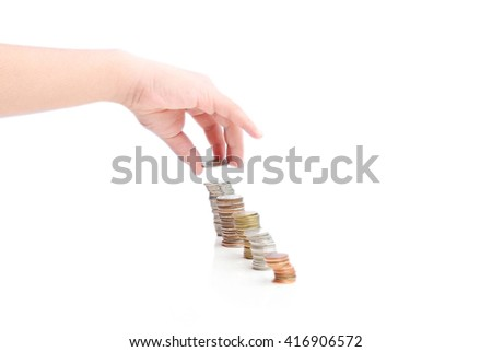 Hand with coin isolated on a white background
