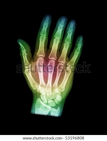 hand with color on black background - stock photo