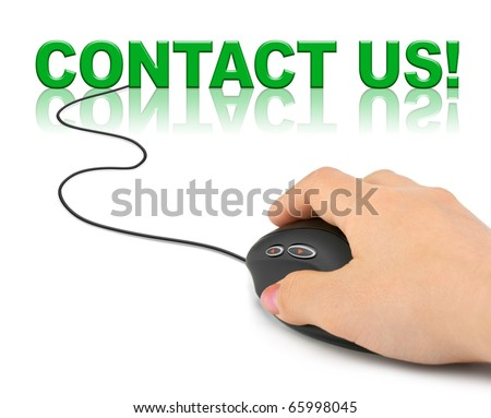 Hand with computer mouse and word contact us - business concept - stock photo