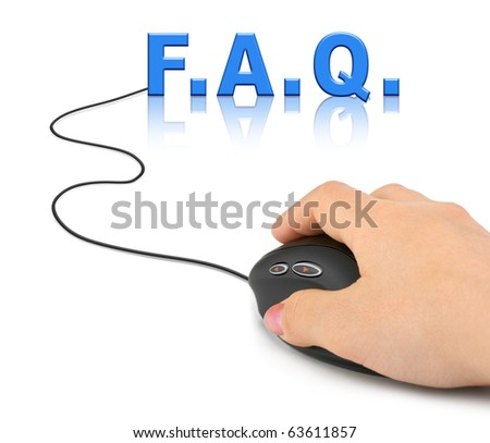 Hand with computer mouse and word FAQ - internet concept - stock photo