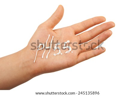 Hand with cream, isolated on white - stock photo