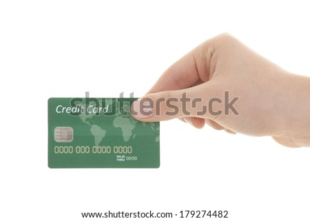 hand with credit card over white background - stock photo