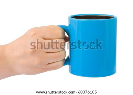 Hand with cup of tea isolated on white background - stock photo