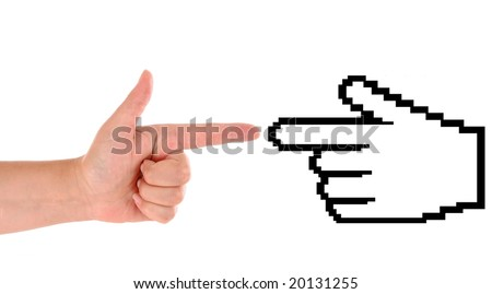 hand with cursor isolated on white background - stock photo