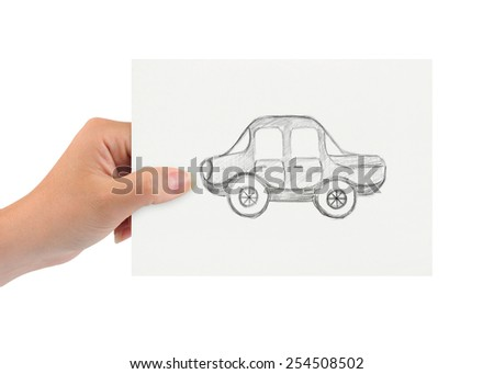 Hand with drawing car isolated on white background - stock photo